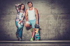 Couple with skateboard  taking selfie Stock Photography