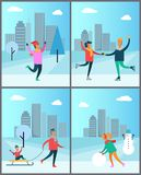 Couple Skates on Rink Man in Sweater Woman Snowman. Couple skating on rink, man in pink sweater enjoys snowfall, father carry child on sleigh, woman makes Stock Photography
