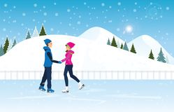 Couple skating on ice rink on Cityscape landscape background. Couple skating on ice rink on Cityscape landscape background scene with snowy. Winter sport and Stock Images