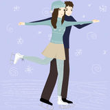 Couple on the skating rink Royalty Free Stock Photo