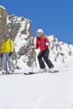Couple On Ski Holiday In Mountains Stock Photos