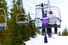 Couple on Ski Lift Royalty Free Stock Image