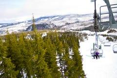 Couple on Ski Lift Royalty Free Stock Image