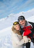 Couple on ski royalty free stock image