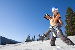 Couple on ski vacation Stock Images