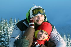 Couple skiers Stock Photos