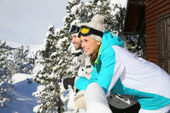 Couple of skiers watching the beautiful panorama Stock Photo