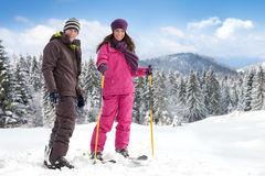 Couple skiers Stock Images