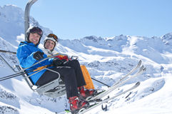Couple skiing Stock Photos