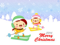 The couple is skiing. Christmas Card Design Series. Stock Photo