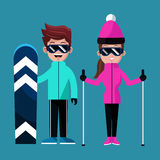 Couple skiing clothes glasses snowboard. Vector illustration eps 10 Stock Photography