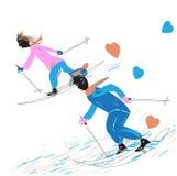 Couple skiing Stock Photo