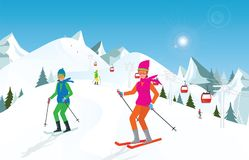 Couple skiing in the mountains against blue sky. Royalty Free Illustration