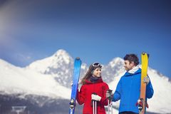 Couple skiing in winter nature Stock Photos