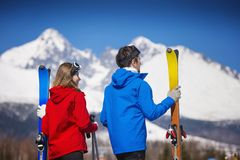 Couple skiing in winter nature Stock Images