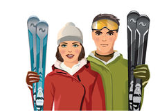Couple with skis in the mountain. Vector illustration of couple with skis in the mountain Royalty Free Stock Photos
