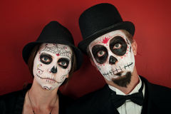 Couple in Skull Makeup Stock Photography