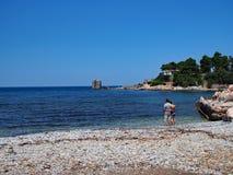 Couple on Skyros Greek Island Beach Stock Photos