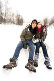 Couple on sled Royalty Free Stock Photos