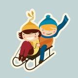 Couple sled. Cartoon flat valentine couple sled Stock Photography