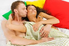 Couple sleeping in the bed Royalty Free Stock Photos