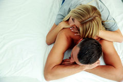 Couple sleeping in the bed Stock Photo