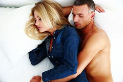 Couple sleeping at home Stock Photo
