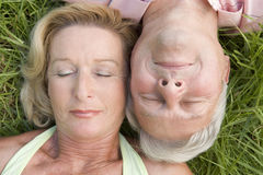 Couple sleeping outdoors Stock Photos