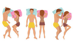 Couple sleeping poses. Man and woman resting and dreaming positions vector illustration Royalty Free Stock Images