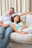 Couple sleeping on sofa Royalty Free Stock Photo
