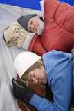 Couple Sleeping In Tent Royalty Free Stock Photo