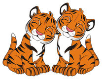 Couple of sleeping tigers Royalty Free Stock Image