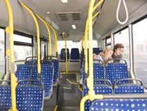 Couple sleeps on the bus Stock Photos