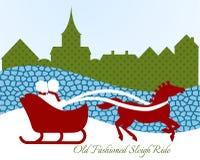 Couple on sleigh ride stock illustration
