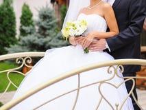 Couple on Small Bridge Stock Images