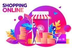 A couple and smartphone with percent discount icon on the screen. Smart retail, retail mobility solutions and smart city. Concept, violet and red palette royalty free illustration