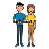 Couple with smartphones. Young couple chatting on smartphones vector illustration graphic design royalty free illustration