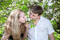 Couple smelling flowers royalty free stock photos