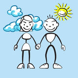 Couple smiling with clouds and sun. Vector drawing on coloured background, ready for color change Royalty Free Stock Images