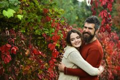 Couple with smiling faces cuddle each other with tenderness. Couple in love hugs with red leaves on background, autumn day. Man with beard and young women royalty free stock photography