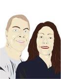 Couple smiling illustration Royalty Free Stock Image