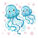 Couple smiling jellyfish floating in the sea. Stock Photo