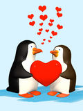Couple the smiling in love 3D penguins Royalty Free Stock Photo