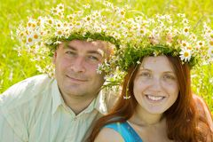 Couple smiling outdoors Royalty Free Stock Image