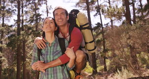 Couple is smiling together stock footage