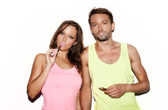 Couple smoking e-cigarette Royalty Free Stock Photography