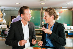 Couple with snack for breakfast Royalty Free Stock Image