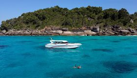 Couple snorkeling with clear water at Similan island Stock Photos