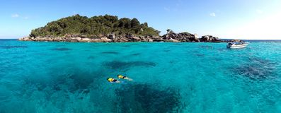 Couple snorkeling in crystal water at similan island, Andaman sea, Phuket