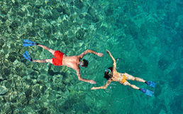 Couple snorkeling at Phi Phi Island, Phuket, Thailand Stock Images